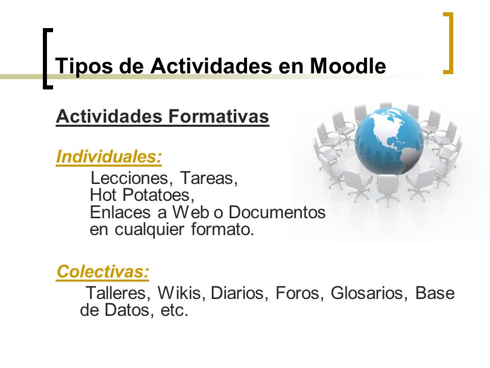 Tipos de Actividades en Moodle