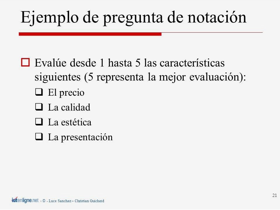 Ejemplo de pregunta de notación
