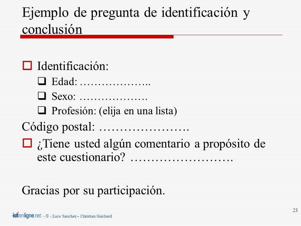 Ejemplo de pregunta de identificación y conclusión