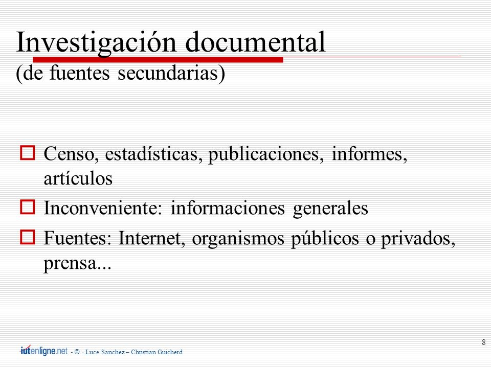 Investigación documental (de fuentes secundarias)