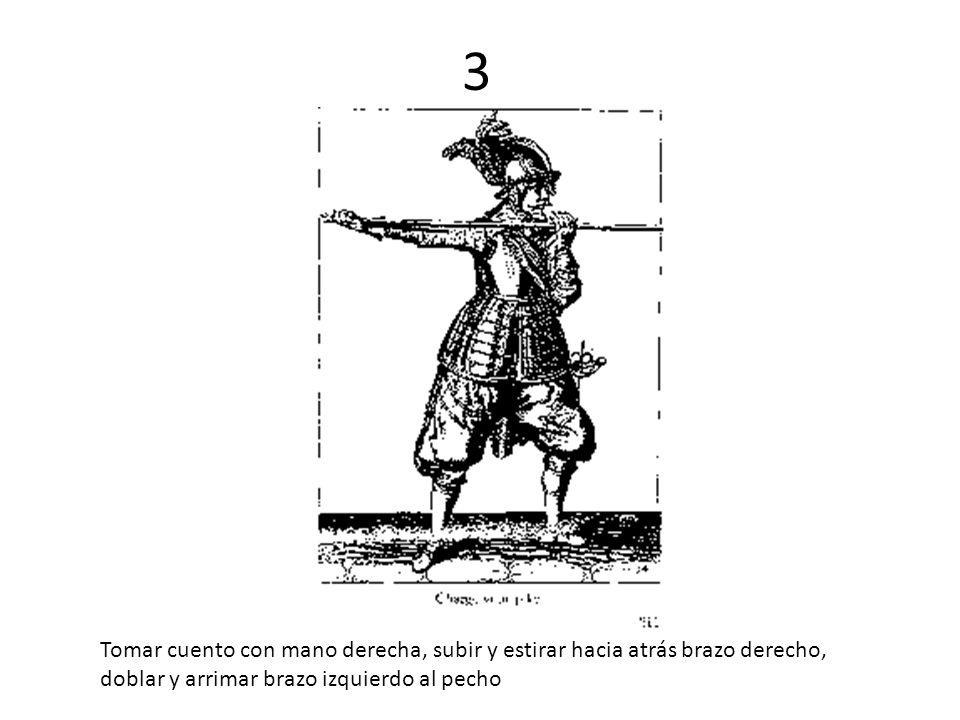 3 Tomar cuento con mano derecha, subir y estirar hacia atrás brazo derecho, doblar y arrimar brazo izquierdo al pecho.