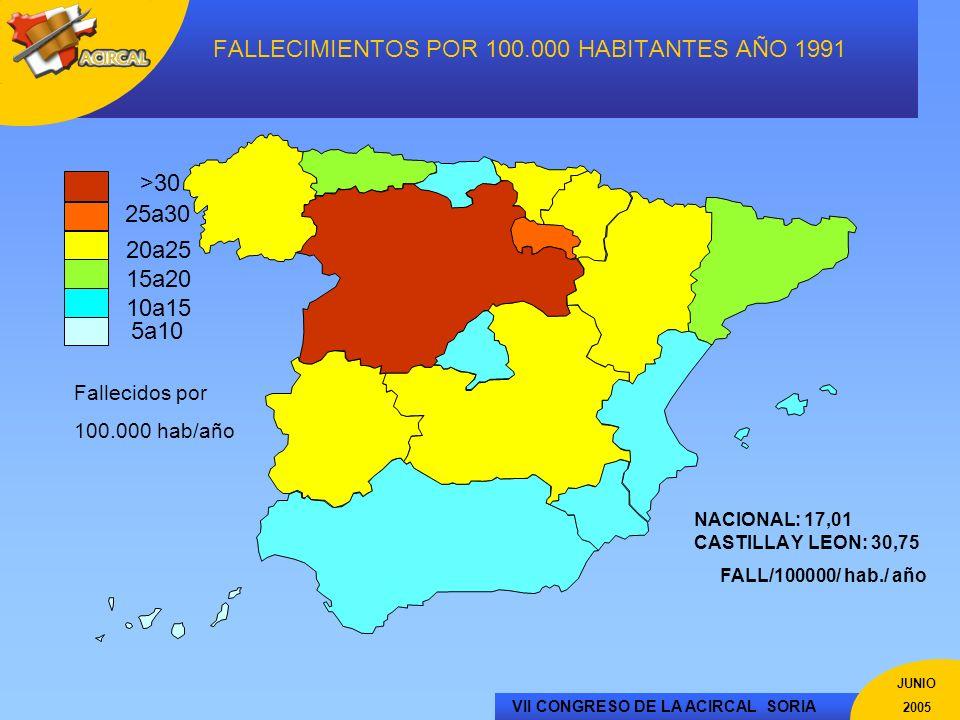 FALLECIMIENTOS POR 100.000 HABITANTES AÑO 1991