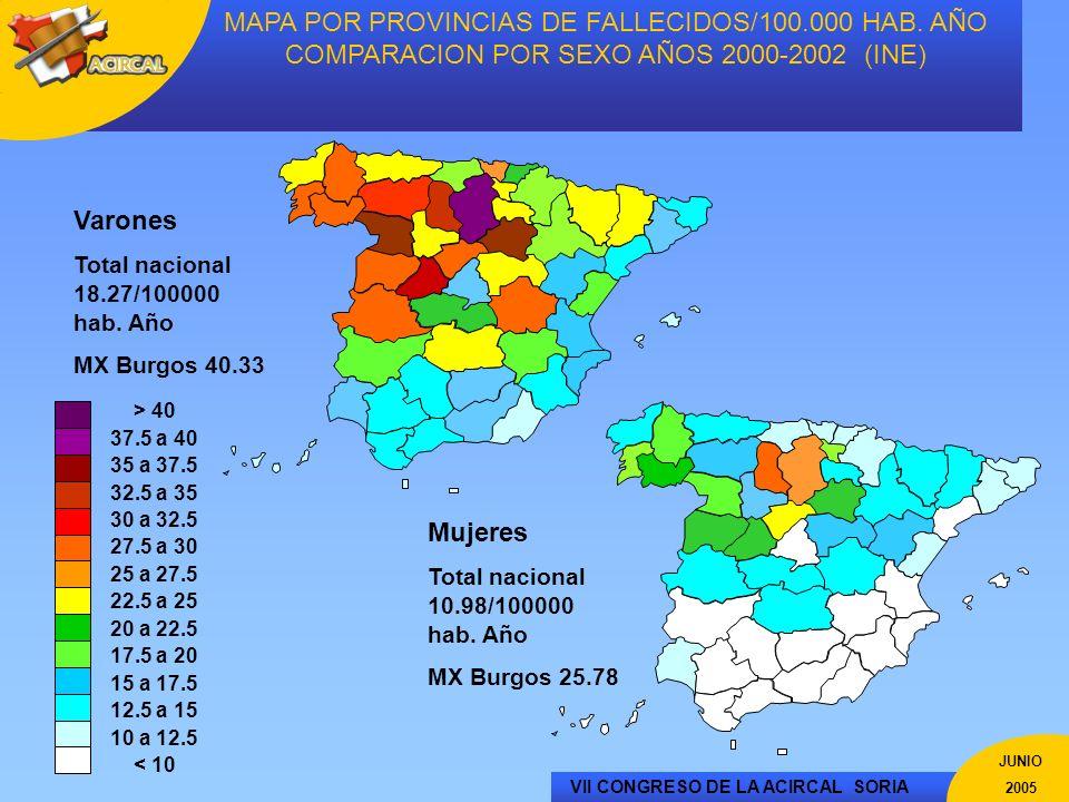 MAPA POR PROVINCIAS DE FALLECIDOS/100. 000 HAB