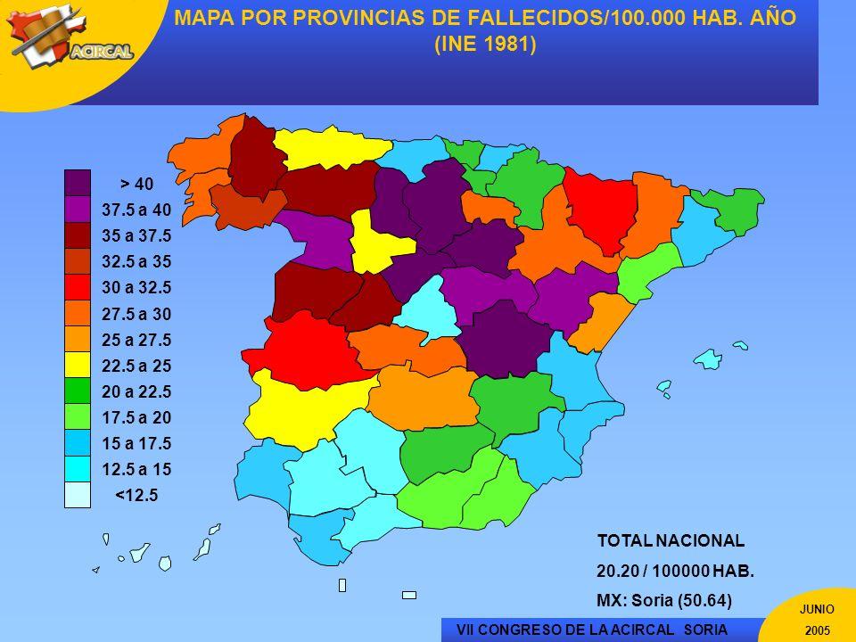 MAPA POR PROVINCIAS DE FALLECIDOS/100.000 HAB. AÑO (INE 1981)