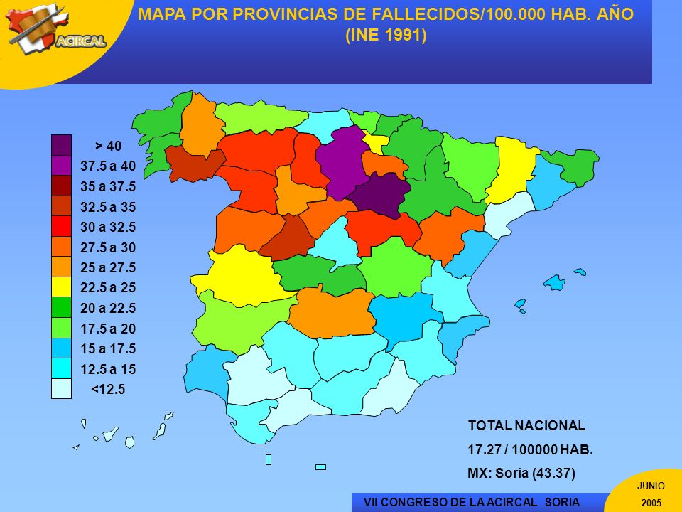 MAPA POR PROVINCIAS DE FALLECIDOS/100.000 HAB. AÑO (INE 1991)