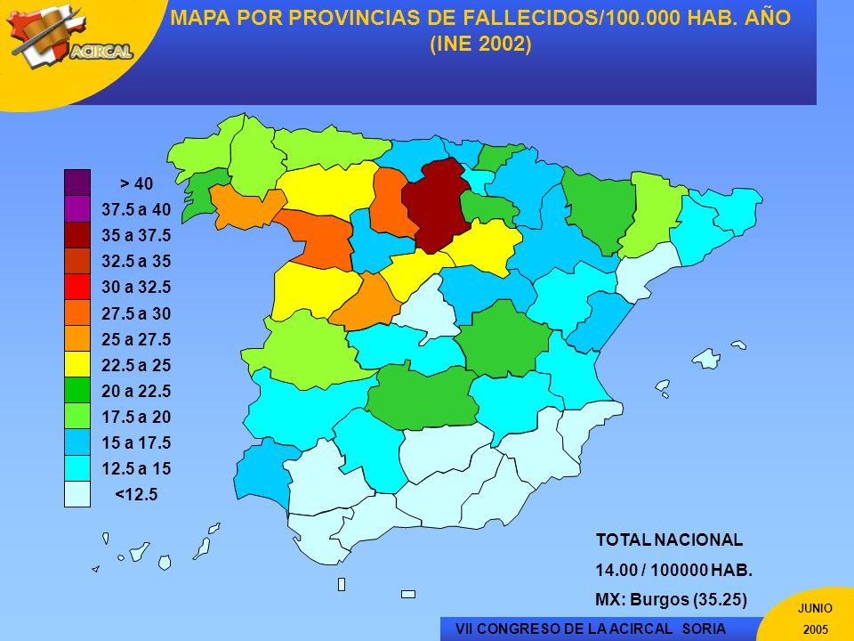 MAPA POR PROVINCIAS DE FALLECIDOS/100.000 HAB. AÑO (INE 2002)