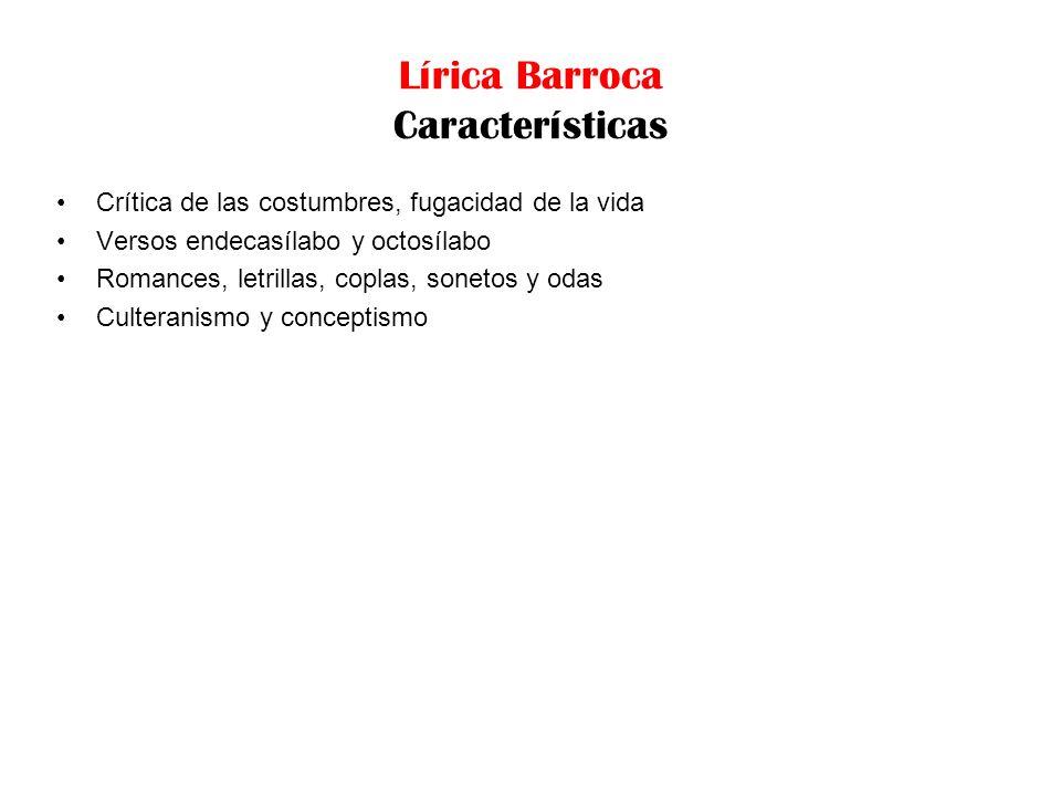 Lírica Barroca Características