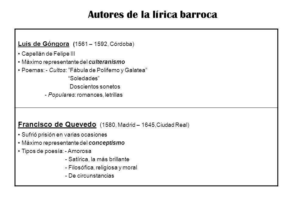 Autores de la lírica barroca