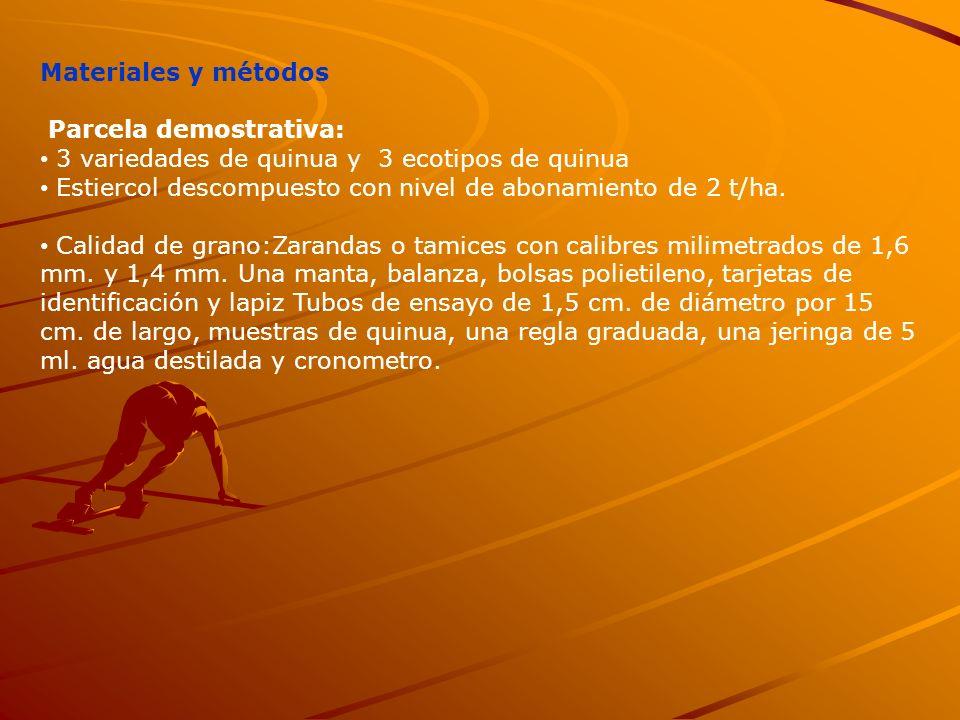 Materiales y métodos Parcela demostrativa: 3 variedades de quinua y 3 ecotipos de quinua.