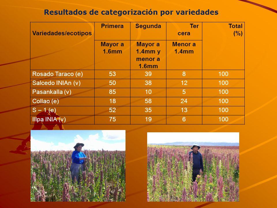 Resultados de categorización por variedades
