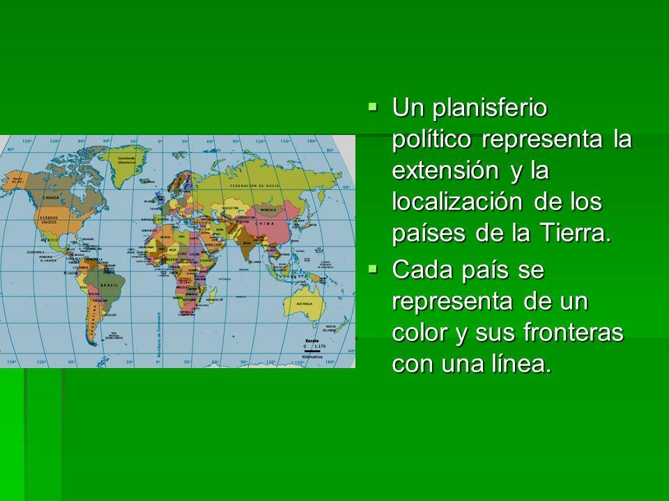 Un planisferio político representa la extensión y la localización de los países de la Tierra.