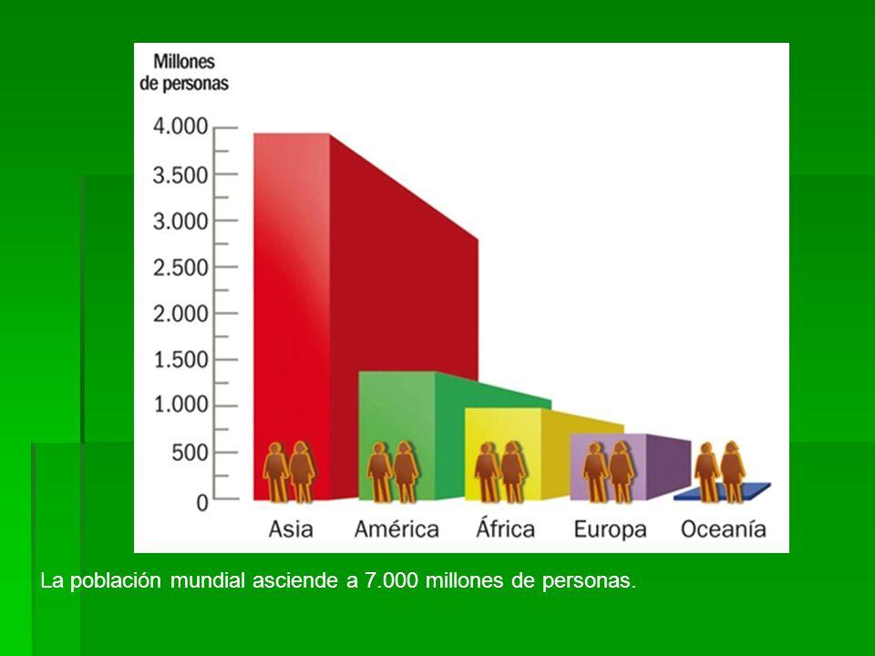 La población mundial asciende a 7.000 millones de personas.