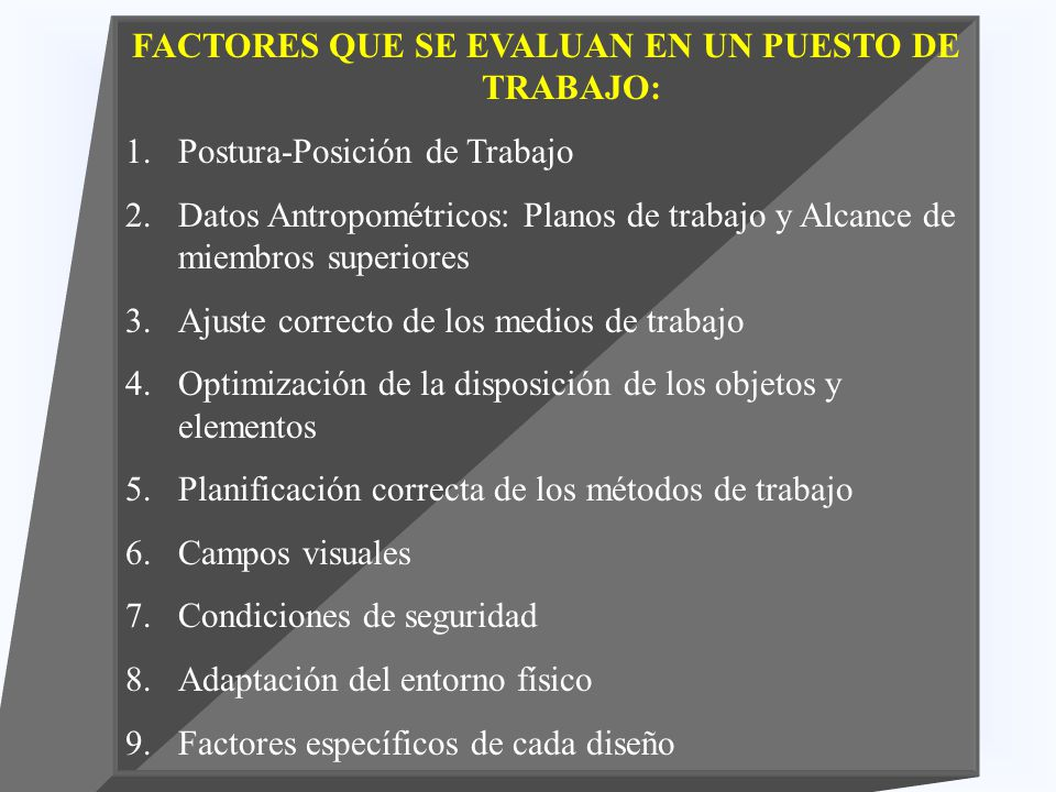 Dise o de puestos de trabajo ppt video online descargar for Elementos antropometricos