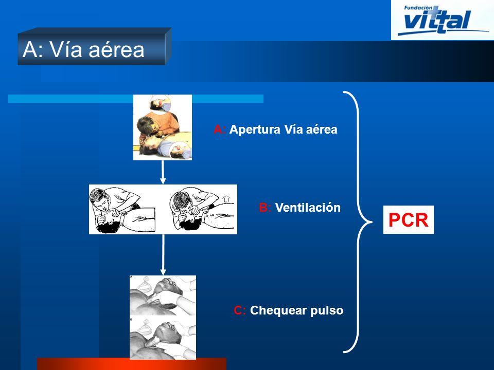 A: Vía aérea PCR A: Apertura Vía aérea B: Ventilación