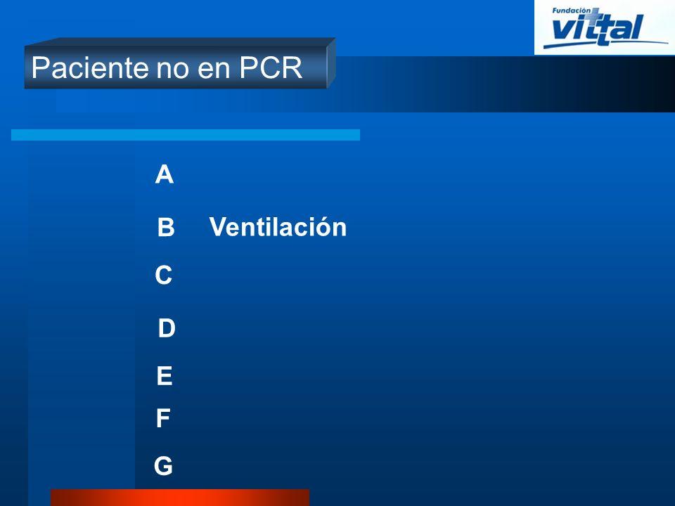 Paciente no en PCR A B Ventilación C D E F G