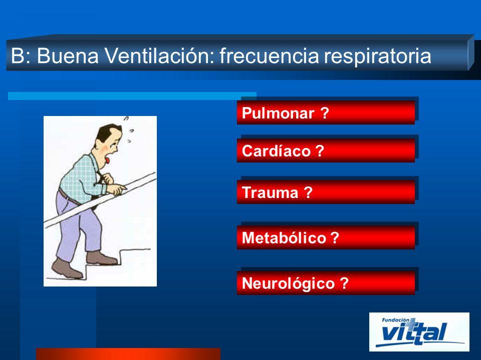 B: Buena Ventilación: frecuencia respiratoria