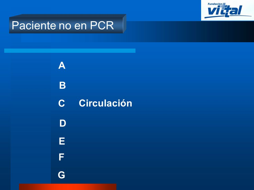 Paciente no en PCR A B C Circulación D E F G