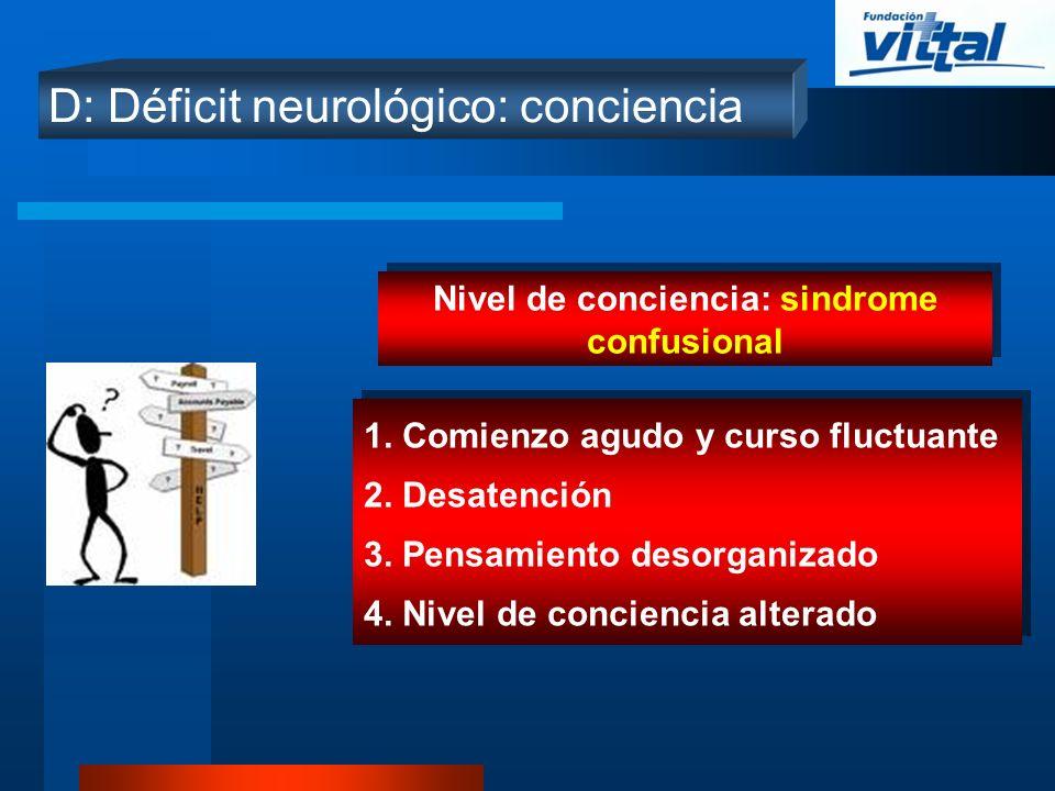 Nivel de conciencia: sindrome confusional