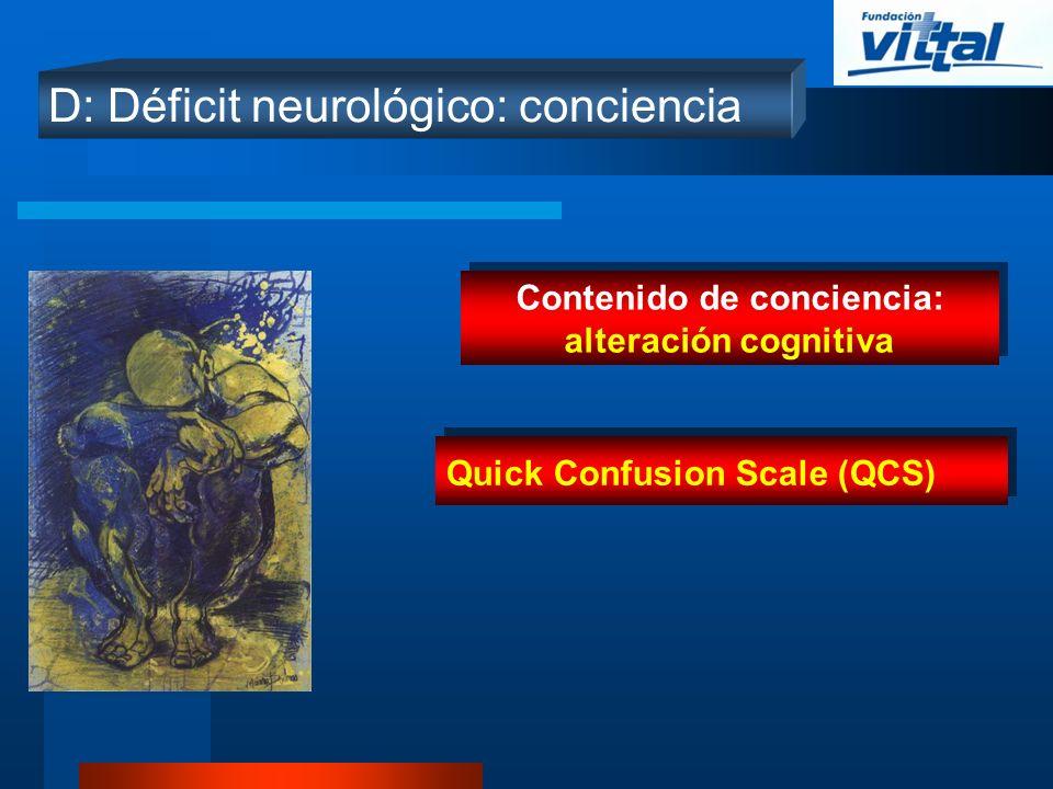 Contenido de conciencia: alteración cognitiva
