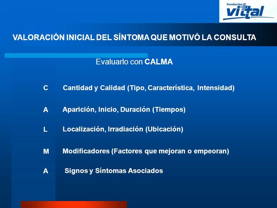 VALORACIÓN INICIAL DEL SÍNTOMA QUE MOTIVÓ LA CONSULTA