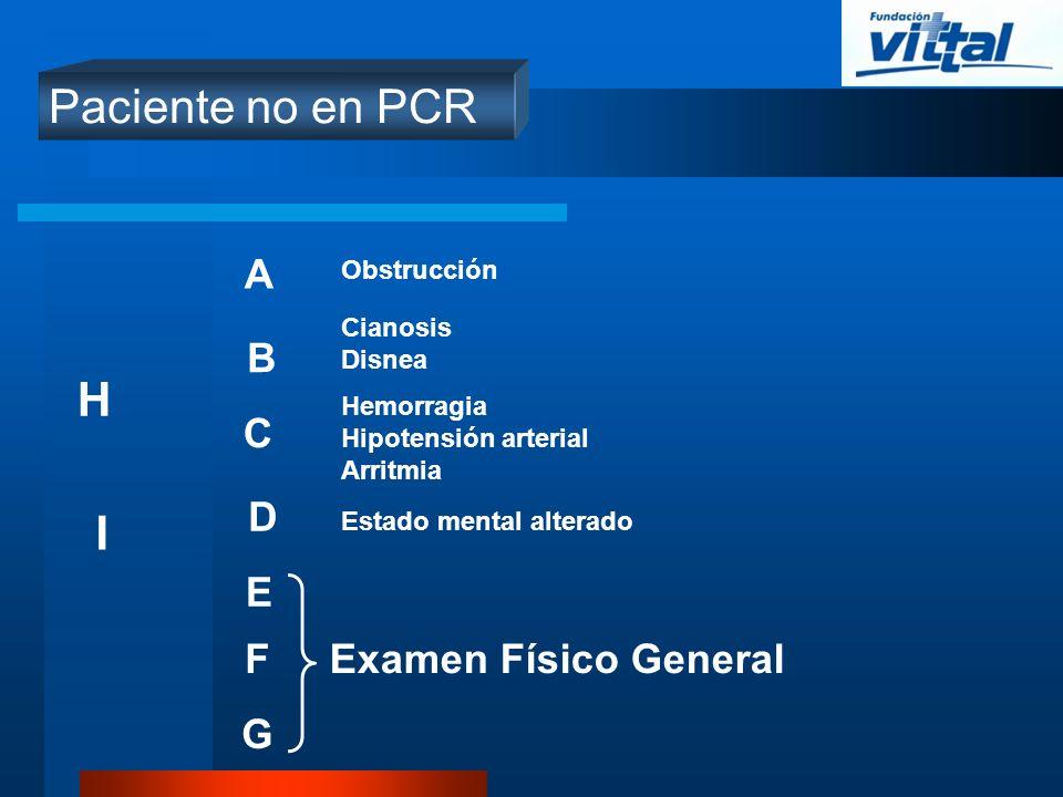Paciente no en PCR H I A B C D E F Examen Físico General G Obstrucción