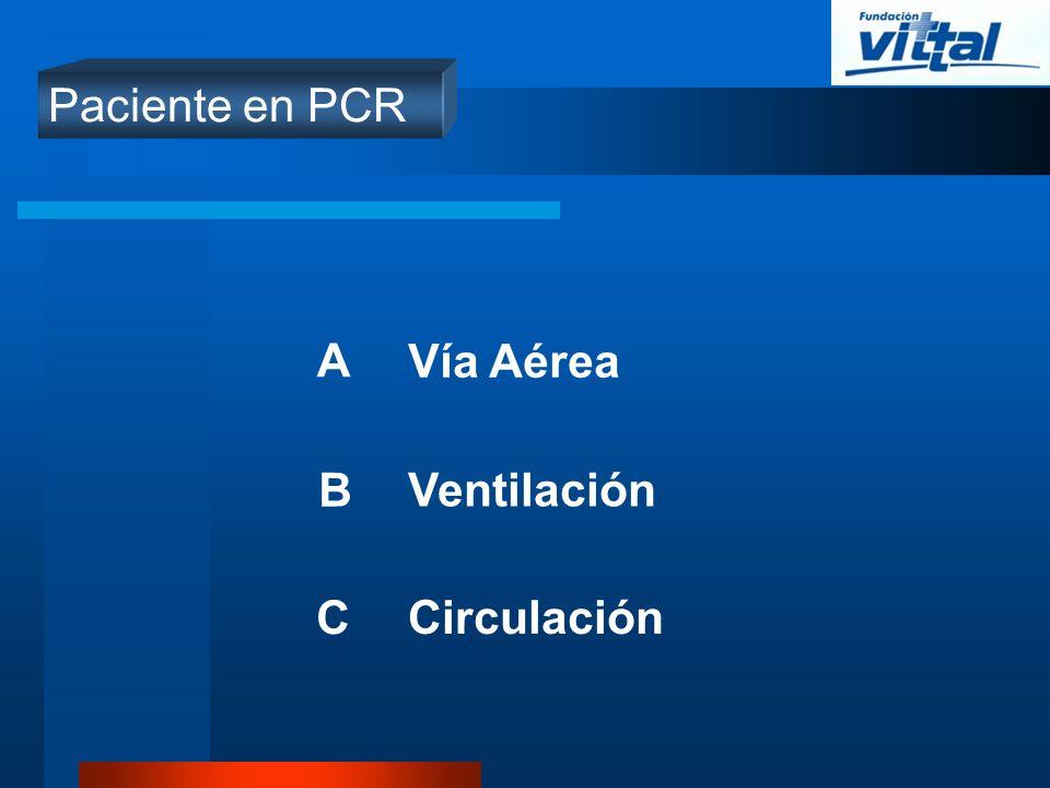 Paciente en PCR A Vía Aérea B Ventilación C Circulación