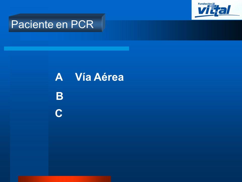 Paciente en PCR A Vía Aérea B C