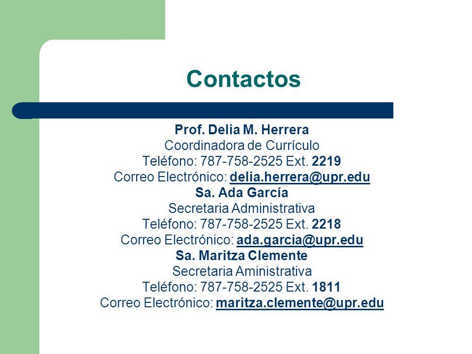 Contactos Prof. Delia M. Herrera Coordinadora de Currículo