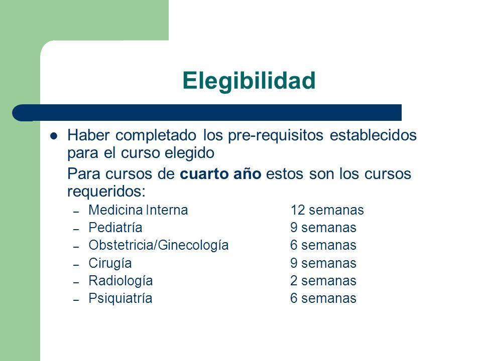 ElegibilidadHaber completado los pre-requisitos establecidos para el curso elegido. Para cursos de cuarto año estos son los cursos requeridos: