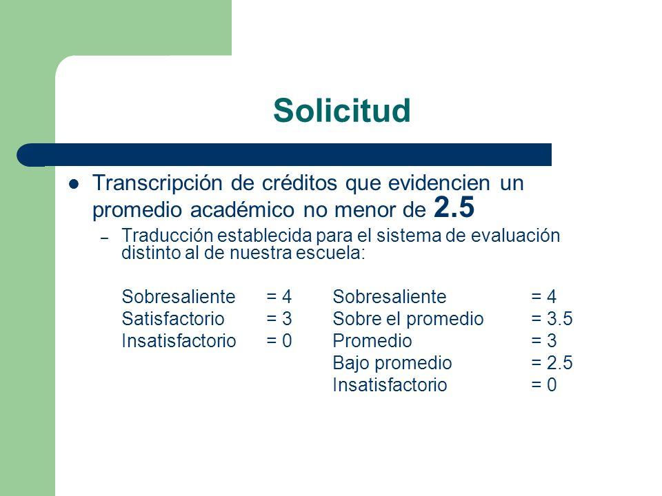 Solicitud Transcripción de créditos que evidencien un promedio académico no menor de 2.5.
