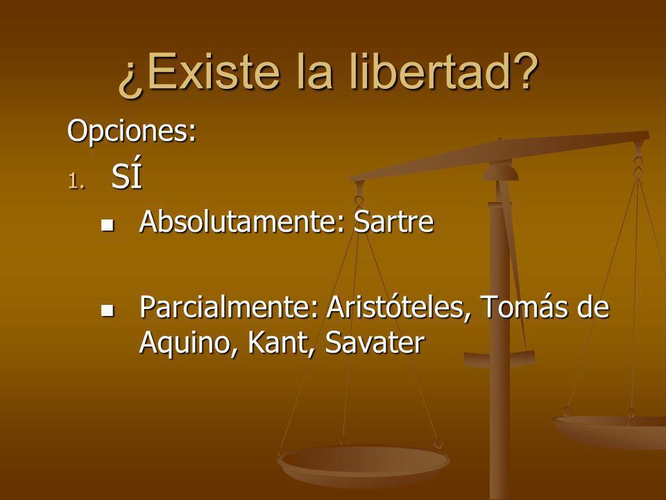 ¿Existe la libertad SÍ Opciones: Absolutamente: Sartre