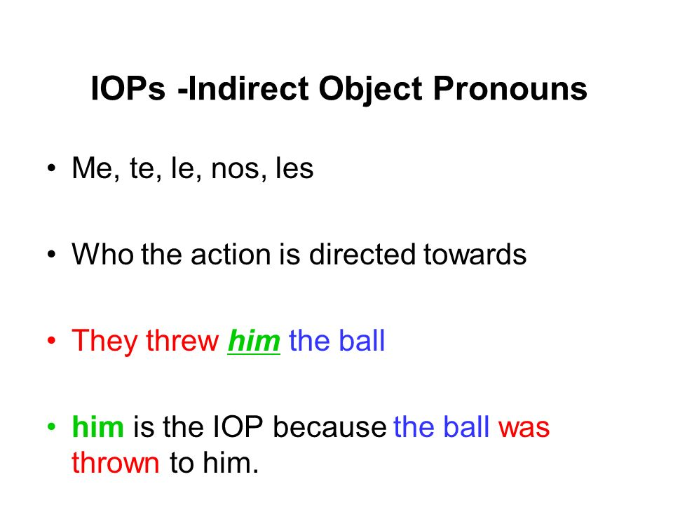IOPs -Indirect Object Pronouns