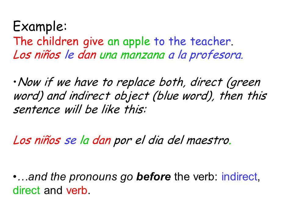 Example: The children give an apple to the teacher.