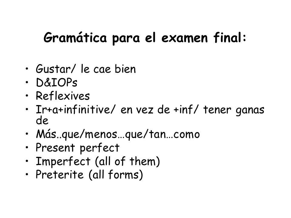 Gramática para el examen final: