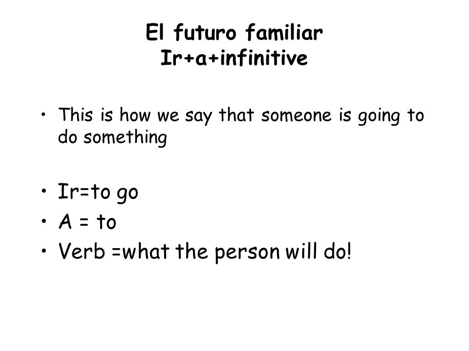 El futuro familiar Ir+a+infinitive