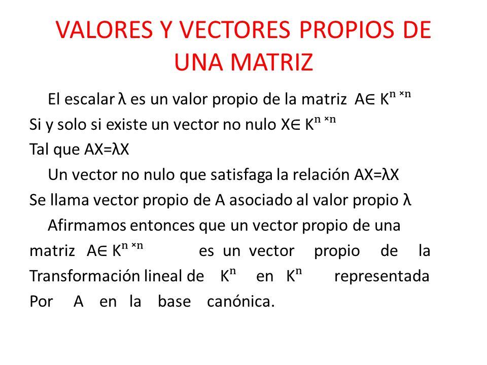 VALORES Y VECTORES PROPIOS DE UNA MATRIZ
