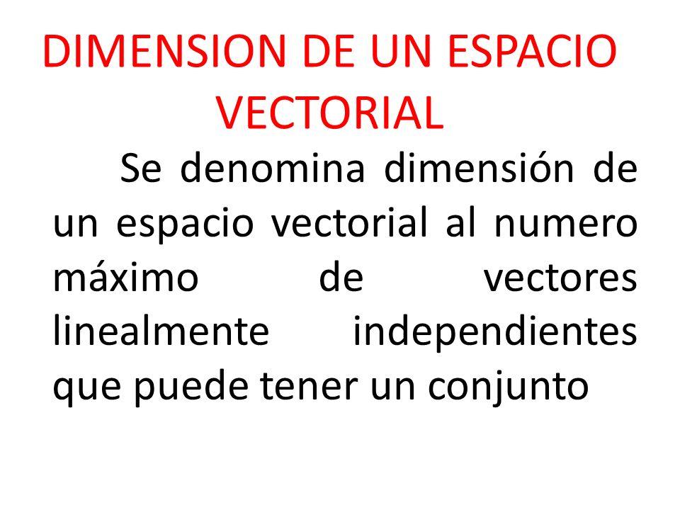 DIMENSION DE UN ESPACIO VECTORIAL