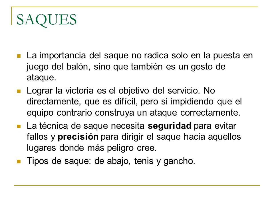 SAQUES La importancia del saque no radica solo en la puesta en juego del balón, sino que también es un gesto de ataque.