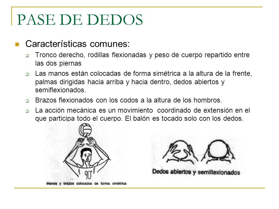PASE DE DEDOS Características comunes: