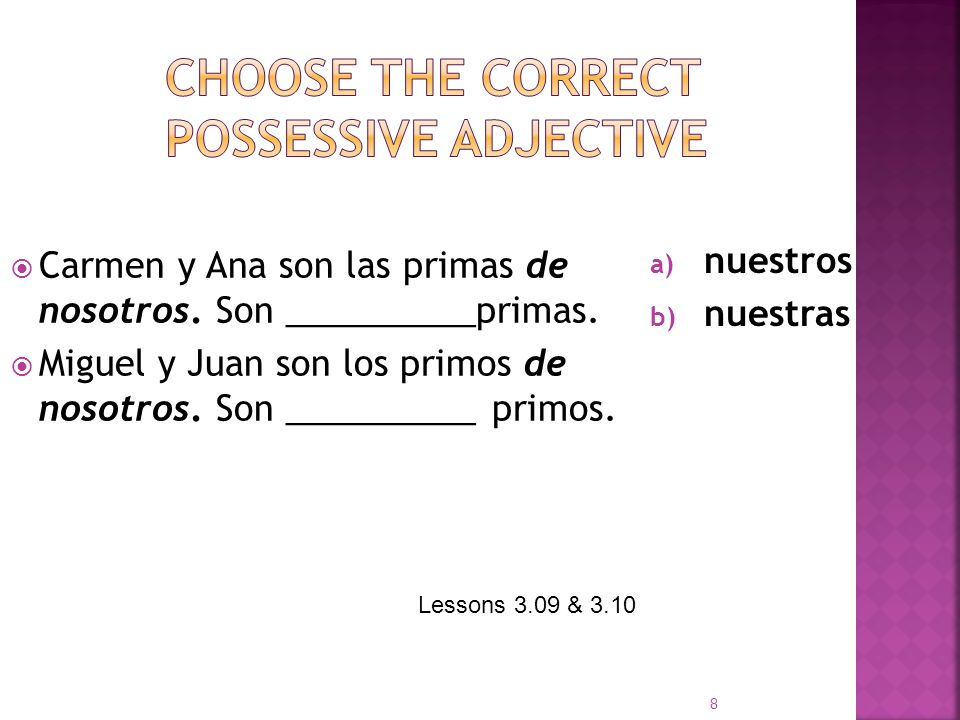 Choose the correct possessive adjective