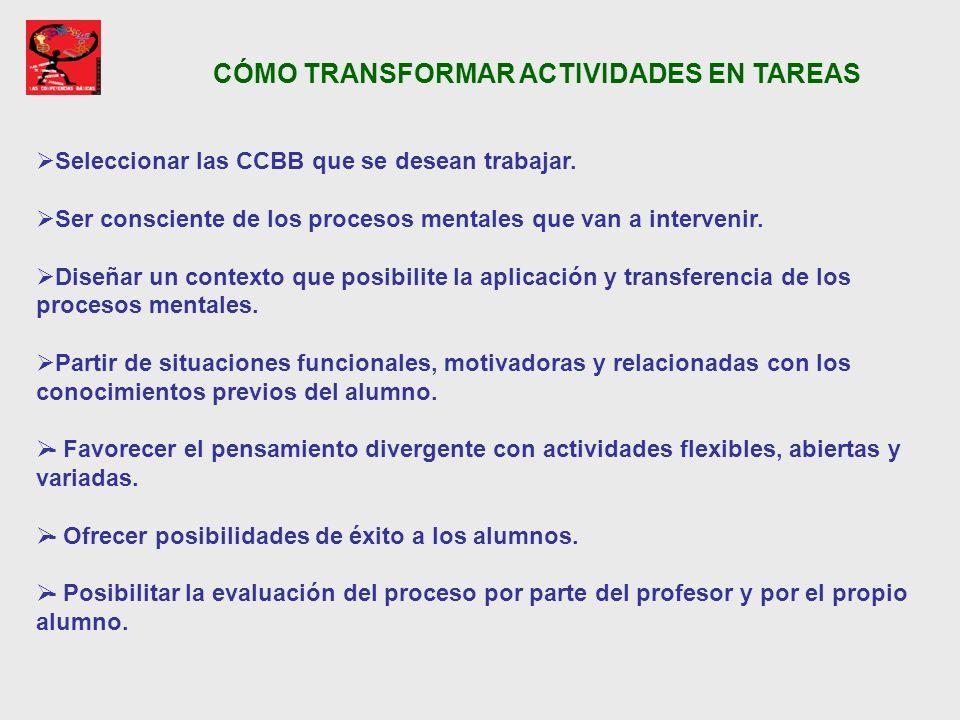 CÓMO TRANSFORMAR ACTIVIDADES EN TAREAS