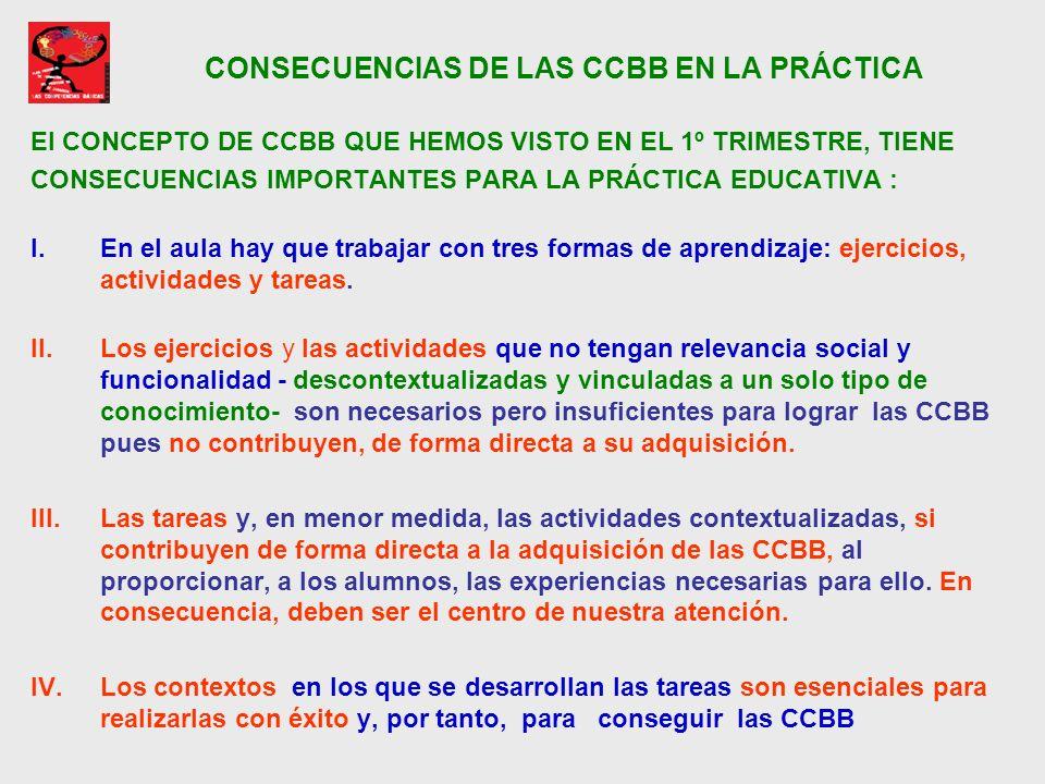 CONSECUENCIAS DE LAS CCBB EN LA PRÁCTICA