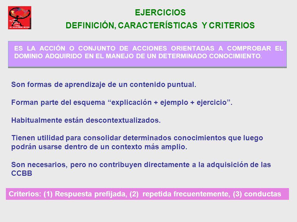EJERCICIOS DEFINICIÓN, CARACTERÍSTICAS Y CRITERIOS
