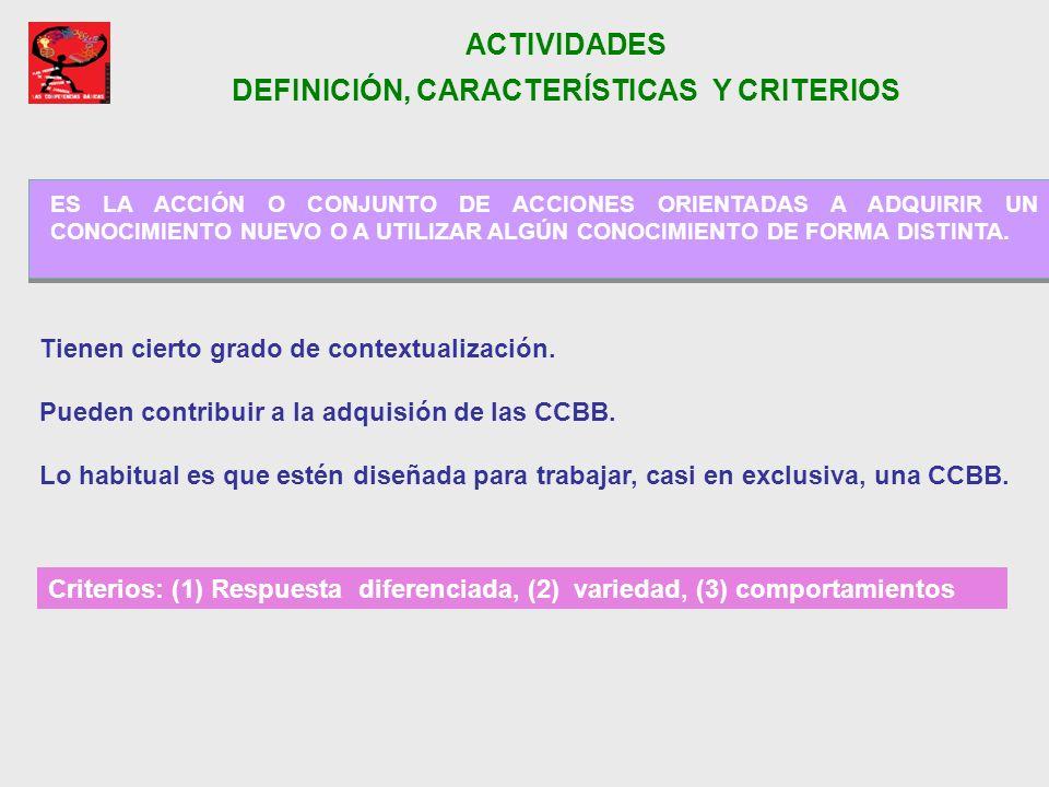 ACTIVIDADES DEFINICIÓN, CARACTERÍSTICAS Y CRITERIOS