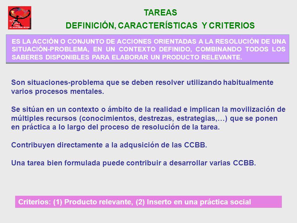 TAREAS DEFINICIÓN, CARACTERÍSTICAS Y CRITERIOS