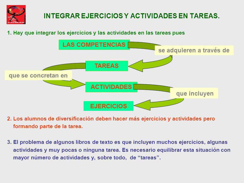 INTEGRAR EJERCICIOS Y ACTIVIDADES EN TAREAS.