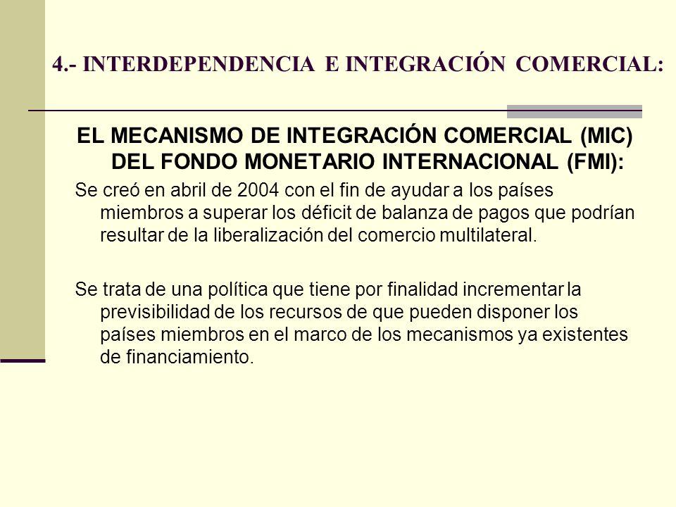 4.- INTERDEPENDENCIA E INTEGRACIÓN COMERCIAL: