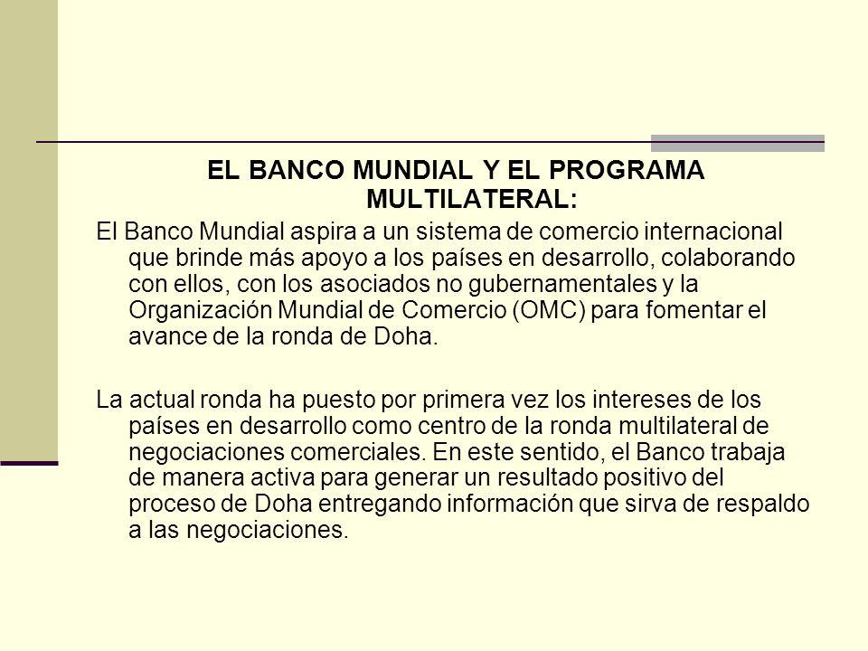 EL BANCO MUNDIAL Y EL PROGRAMA MULTILATERAL: