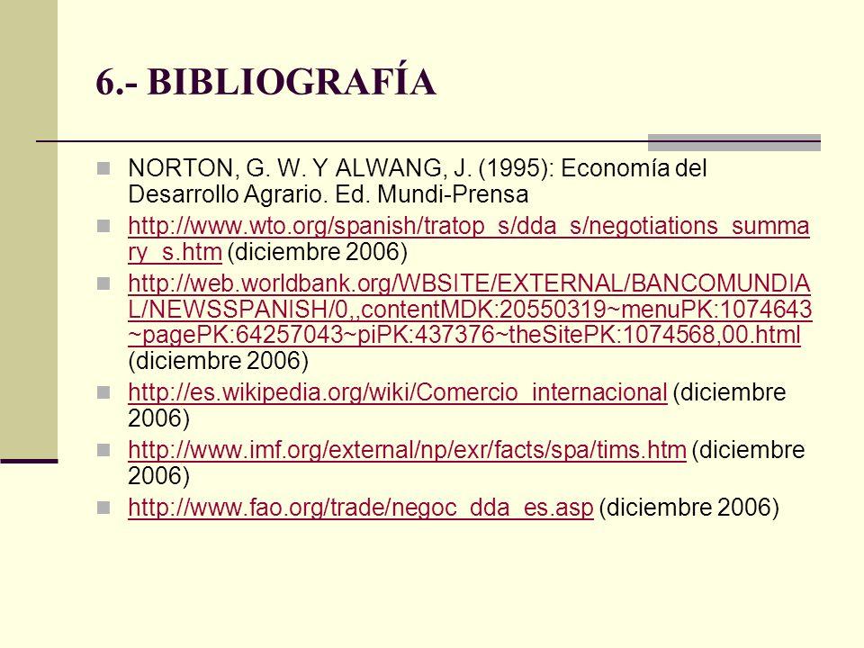 6.- BIBLIOGRAFÍA NORTON, G. W. Y ALWANG, J. (1995): Economía del Desarrollo Agrario. Ed. Mundi-Prensa.