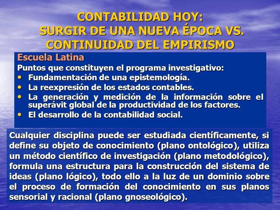 CONTABILIDAD HOY: SURGIR DE UNA NUEVA ÉPOCA VS